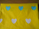 Лоскут ткани №392а с бирюзовыми и белыми сердечками на жёлтом фоне, фото 2