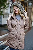Женская теплая парка ткань плащевка-мемори с искусственным мехом енота бежевая, фото 1