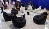 Черное кресло-мешок груша 120*90 см из кож зама Зевс, фото 2