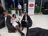 Черное кресло-мешок груша 120*90 см из кож зама Зевс, фото 3