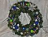 Венок еловый рождественский.(Синий+серебро) 50см Доставка.