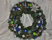 Венок еловый рождественский.(Синий+серебро) 50см Доставка., фото 1