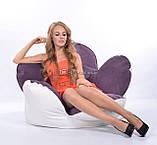 Комбинированное бескаркасное кресло Цветок из велюра и кожзама, фото 2