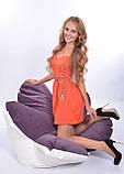 Комбинированное бескаркасное кресло Цветок из велюра и кожзама, фото 3