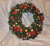 Венок еловый рождественский. Красный с золотым, диаметр 50 см., фото 1