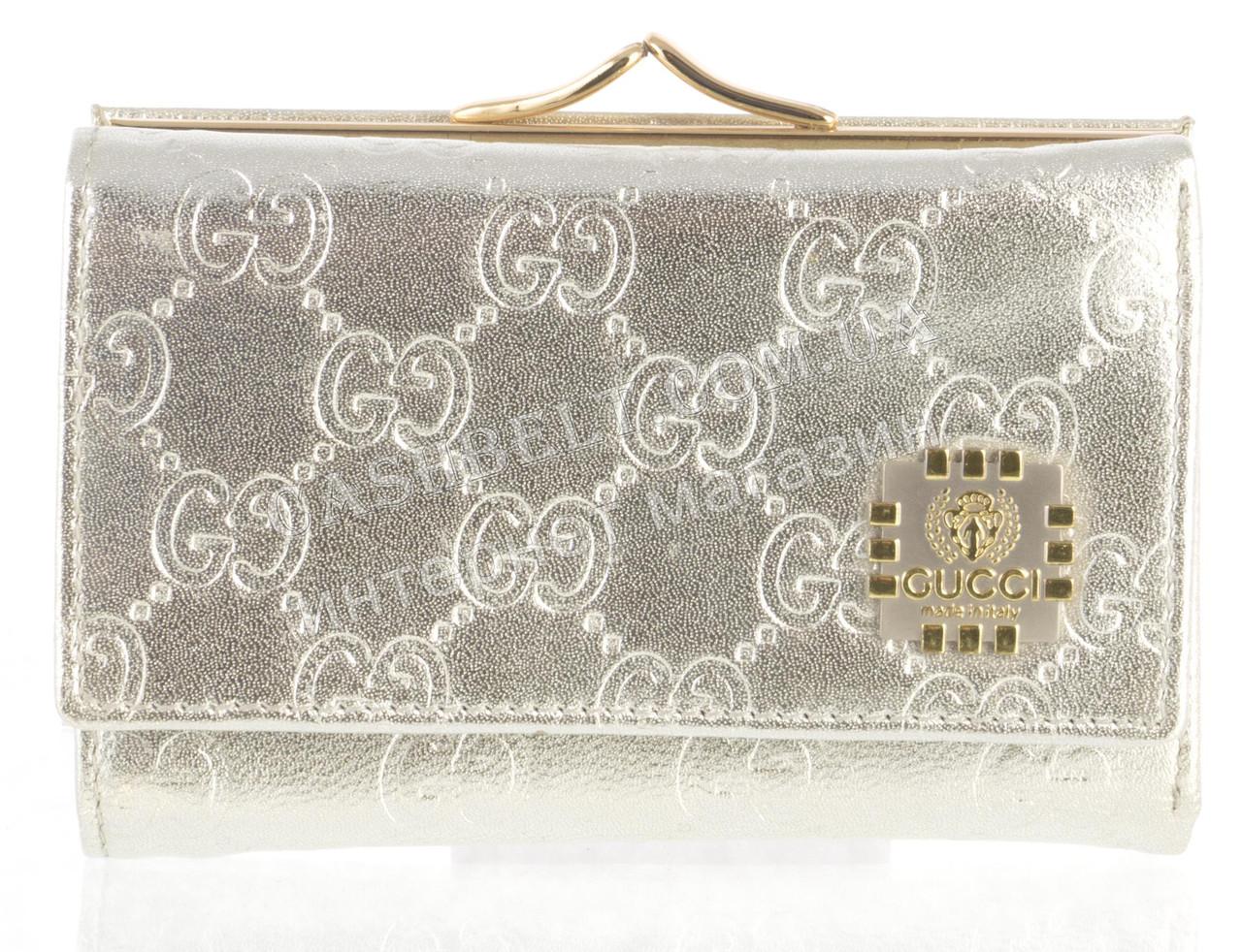 Маленький жіночий шкіряний гаманець високої якості art.G-0102-6 сріблястий