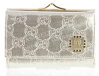 Маленький женский кожаный кошелек высокого качества Gucci art.G-0102-6 серебристый
