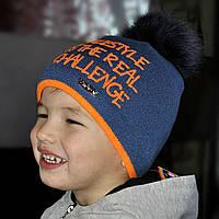 Модная зимняя шапочка с натуральным бубоном . Польша