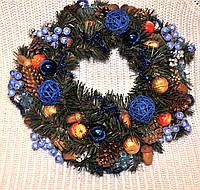 Венок хвойный рождественский синий, диаметр 30 см.