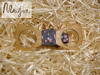 Деревянная бабочка Классик резная серый цветочный принт
