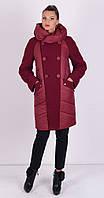Куртка с шерстяными вставками бордо 46 зима