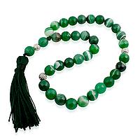 Агат зеленый граненый, Ø10 кисточка, четки