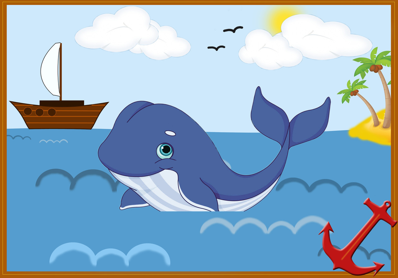 """Дитяча аплікація """"Історія про Йону і кити"""" №12"""