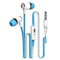 Голубые брендовые наушники с микрофоном Langsdom