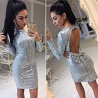 Платье в пайетках с бантом на спине  тет015