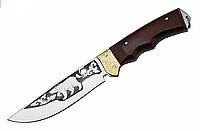 Нож охотничий Медведь, ножи с гравировкой, кожанный чехол, ручка из дерева, охотничий нож