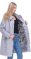 Пальто комбинированное из ткани и кашемира серое 50 весна/осень
