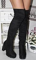 Женские трендовые замшевые ботфорды на удобном каблуке
