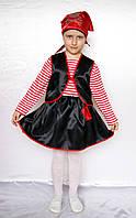 Детский новогодний костюм для девочки Пират красный / чёрный от 3 до 7 лет