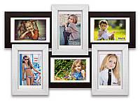 Мультирамка-коллаж Классическая на 6 фотографий 10х15 премиум черно-белая