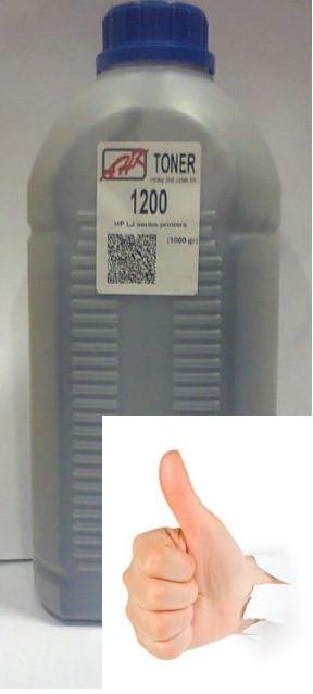 Тонер чёрный АНК HP LJ 1200 1 кг банка (бутылка)