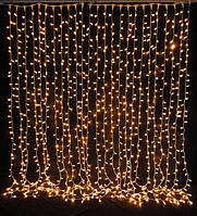 Гирлянда Штора Новогодняя Занавеска 200 Лампочек 2,5 х 0,4 м Желтый, фото 1