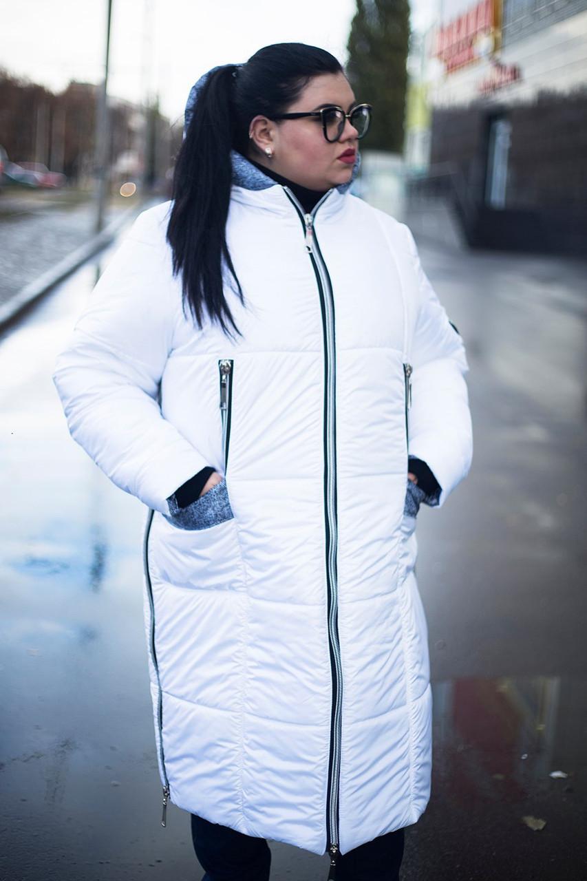 Зимнее пальто больших размеров Ариша белое (52-74)