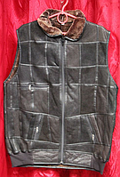 Тёплый натуральный мужской жилет из овечьей шерсти и кожи
