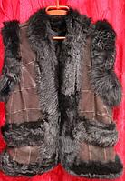 Женская теплая натуральная жилетка коричневый окрас