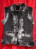 Теплая женская жилетка из овечьей шерсти и натуральной кожи
