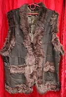 Женская теплая натуральная жилетка на основе овчины и кожи - Турция