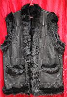Натуральная теплая женская жилетка из овечьей шерсти и кожи