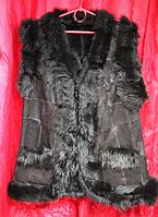 Теплая женская натуральная жилетка из овечьей шерсти и кожи