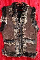 Натуральный теплый женский жилет из овечьей шерсти и кожи