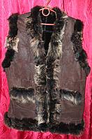 """Натуральная теплая женская жилетка на овчине и кожи """"NEBAT"""""""