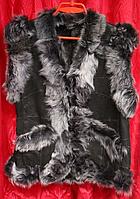 Теплый женский натуральный жилет из натуральной кожи и овечьей шерсти