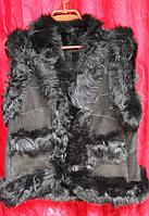 Женская теплая и модная жилетка из кожи и овечьей шерсти - Турция