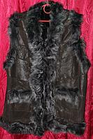 Жилетка женская теплая из кожи и овечьей шерсти чёрный цвет