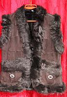 Женский жилет из натуральной кожи и овечьей шерсти Nebat