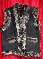 Женская натуральная безрукавка из овечьей шерсти и натуральной кожи Nebat