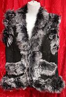 Женская теплая жилетка из овечьей шерсти и кожи Nebat
