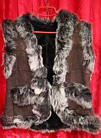 Натуральная женская жилетка из овчины и кожи