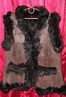 Теплая натуральная женская жилетка из кожи и овечьей шерсти Nebat