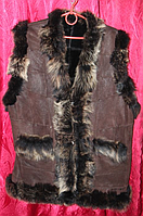 Жилет женский из овечьей шерсти и кожи Nebat коричневый окрас