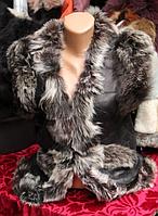 Теплая женская натуральная жилетка овечьей шерсти и натуральной кожи