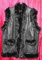 Тепла модний жіночий жилет на овчинка і натуральної шкіри - класика