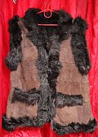 Модна тепла жилетка жіноча з овчини і натуральної шкіри Nebat коричнева