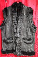 Тёплая женская жилетка из овечьей шерсти и натуральной кожи Nebat (большие размеры)
