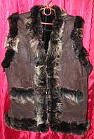 Теплая женская турецкая жилетка из овечьей шерсти и натуральной кожи