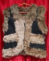 Теплая женская жилетка из овечьей шерсти и натуральной кожи Nebat